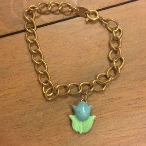 Avon childs blue lucite tulip bracelet. 1960s